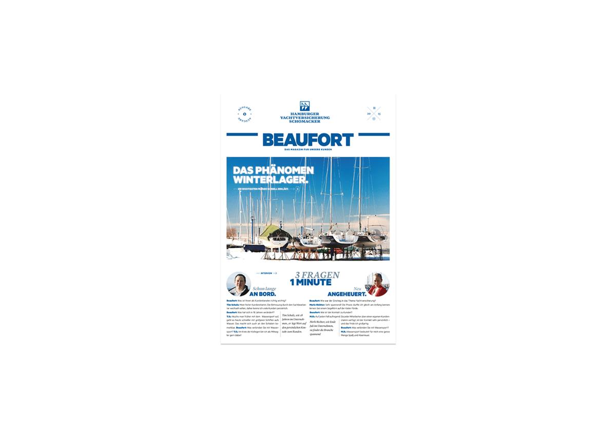 Hamburger Yacht-Versicherung Hauszeitschrift DESIGN 2015  Rundum-Service Druck